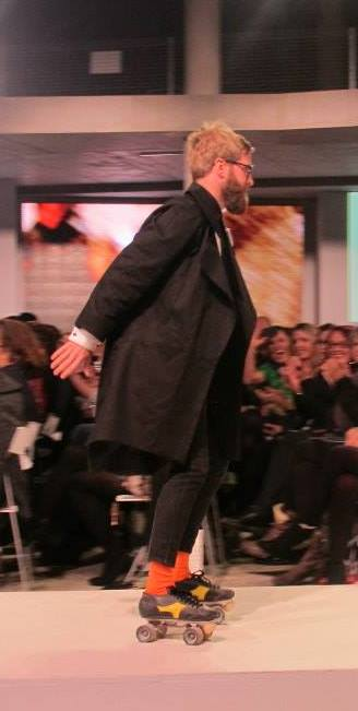 Perpetually Five designer Mitchell Thompson has some fun on the catwalk