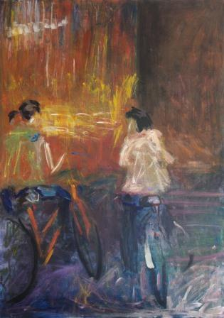 On Bicycles (acrylic, ink and oil pastel on canvas) by Canberra artist Emily Casey