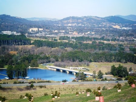 View from the Arboretum to Lake Burley Griffin and  Scrivener Dam