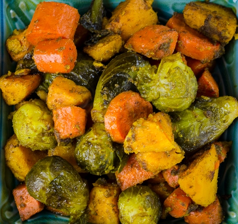 Roast veggies with Moroccan spices (served with seared chicken strips)