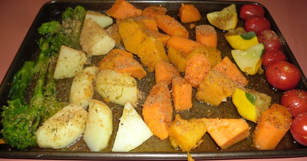 Roast veggies with Australia bush spices (served with slow cooked butterfly lamb*)
