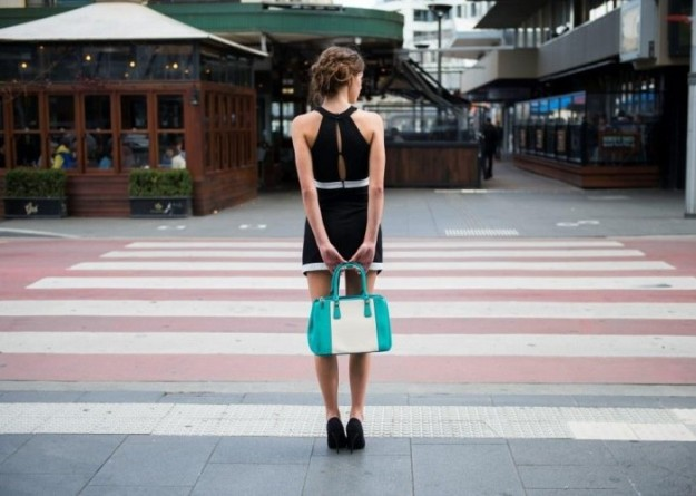 Bella - signature leather edition handbag in teal and off-white