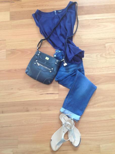 Laurie cross-body bag in blue - teamed with top and crop jeans from Jeanswest and Joanne Mercer sandals