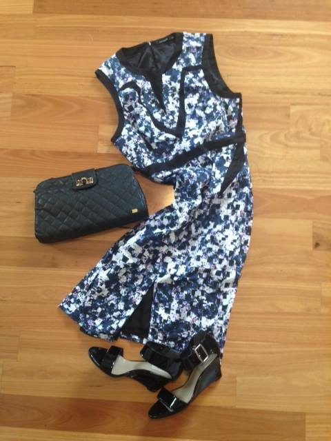 Nova clutch bag in black with dress from Portmans (factory outlet) and shoes by Dianna Ferrari (factory outlet)