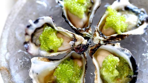 Oysters with soy and finger lime dressing