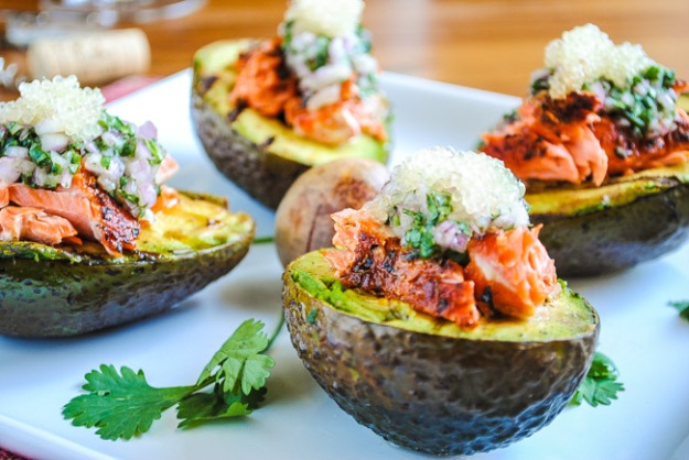 Finger limes with avocado and salmon
