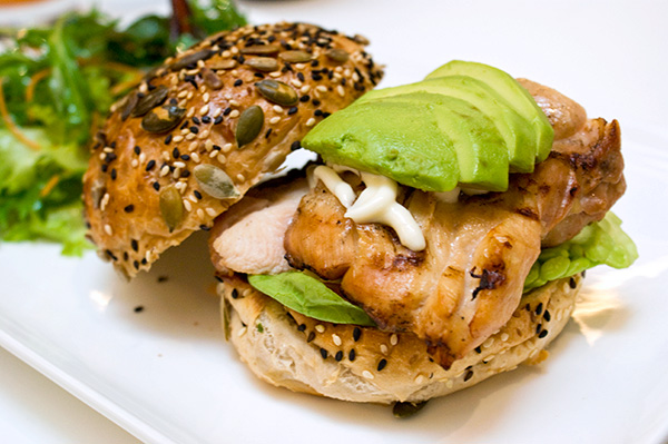 Home-made chicken burger with avocado