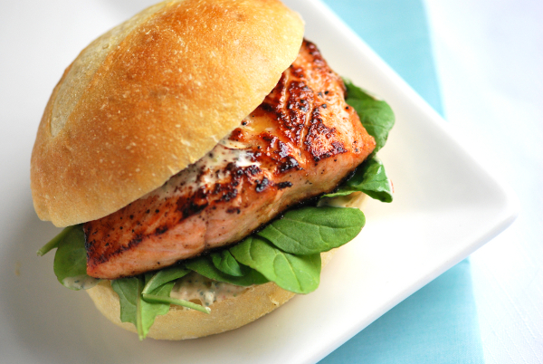Home-made salmon fillet burger