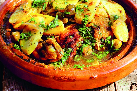 Chicken, olive, and potato hot-pot