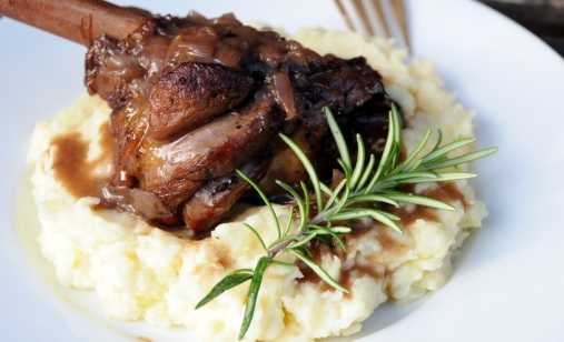 Lamb shanks with spicy plum sauce and garlic mash