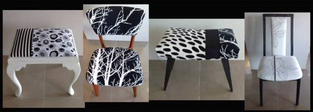 Selection of monochrome upcycled footstools and chairs
