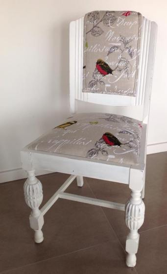 Beautiful upcycled dining chair in french linen fabric