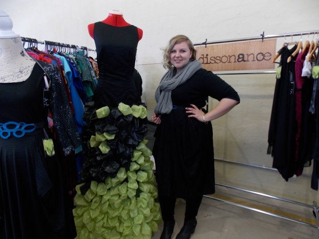 Dissonance designer, Annette Clark with her 2013 FASHFEST dress