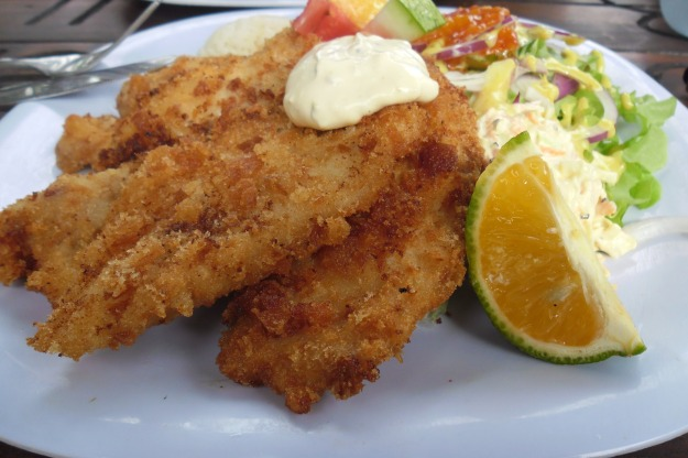 Crumbed Mahi Mahi and Salad at The Moorings Fish Cafe