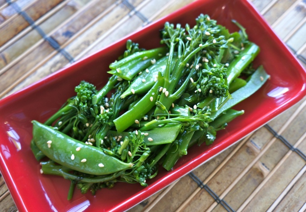 Turning Green broccolini and snap peas