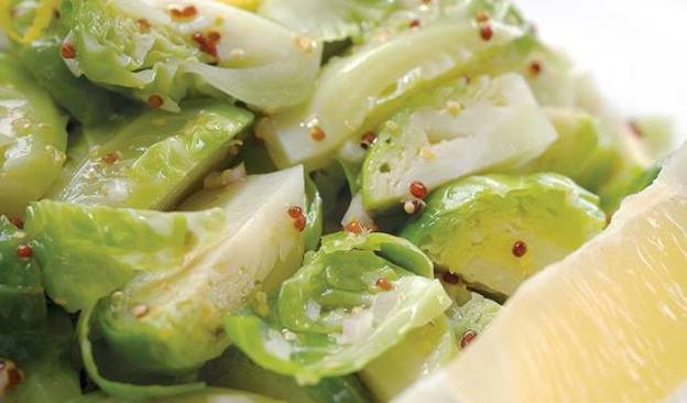Turning green saute brussell sprouts leeks with lemon walnut dressing