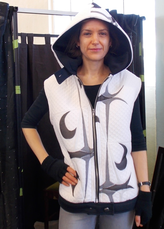 Gorgeous winter hoodie vest made from a recycled bedspread