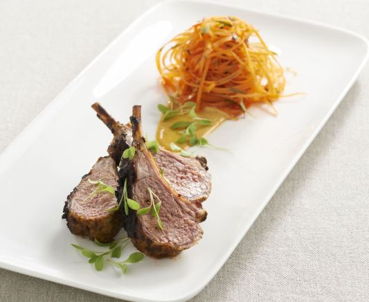 lamb rack with Moroccan carrot salad