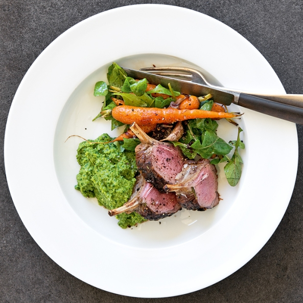 lamb with peas and roast veg