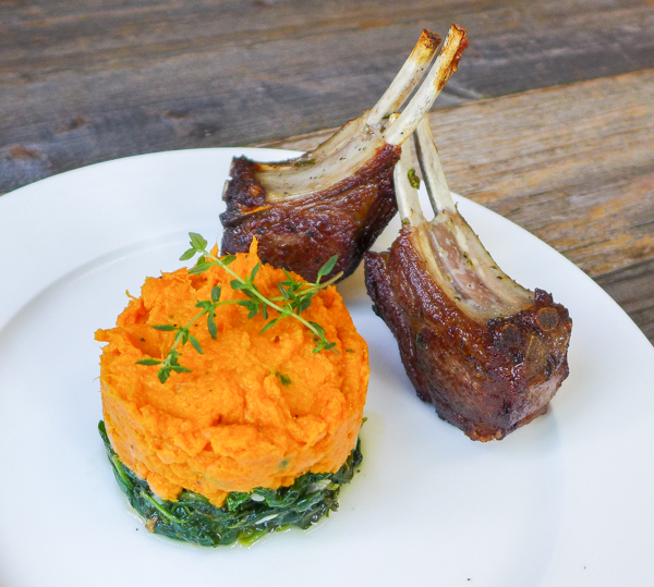 lamb with spinach and sweet pot mash
