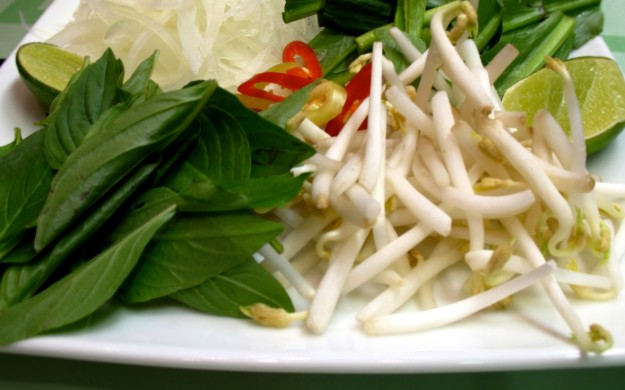 Grated onion,  fresh chilli, bean sprouts,  bok choy leaves and limes