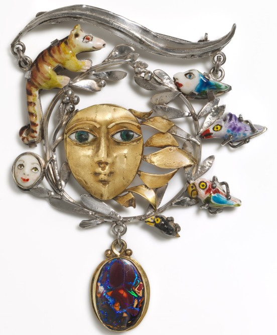 Sunrise and shade, brooch 1981, by Elizabeth Olah. Using sterling silver, 18 carat gold, porcelain, and opal National Gallery of Australia, Canberra Crafts Board Collection donated by the Australia Council 1982