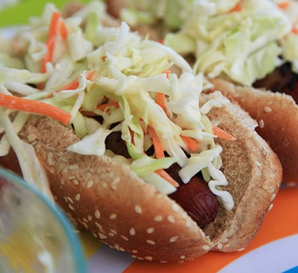 Yummy hot dog sausage with home-made cole slaw