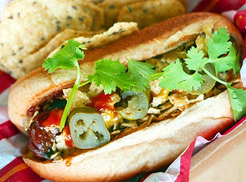 Spicy hot dog with Asian pickles and green chilli