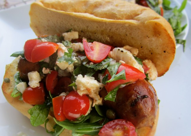 Basic hot dog sausage and mixed salad