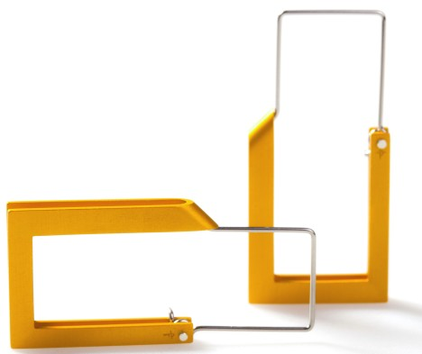 Constructivist earrings – long yellow by Phoebe Porter. Aluminium, stainless steel, 925 silver Image: Andrew Sikorski
