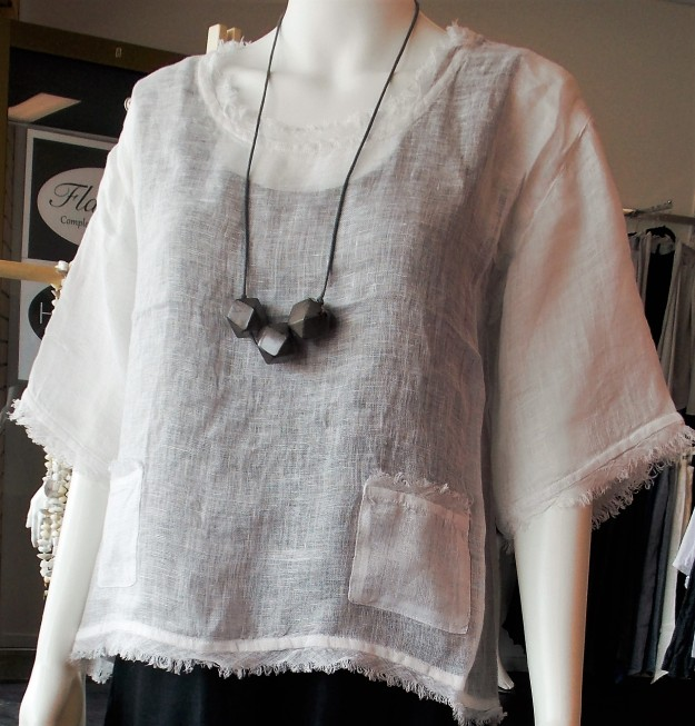 Beautiful summer top - perfect for cooler evenings with a splash of colour underneath. Jewellery by Morgan Marks