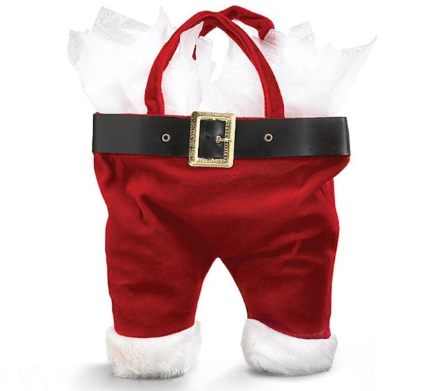 A Santa pants wine bottle carrier from Amazon