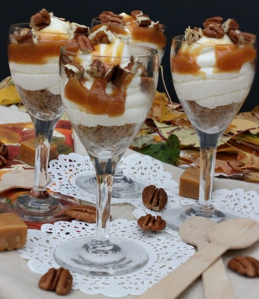 Individual Caramel Pecan Cheesecake trifles from www.hoosierhomemade.com
