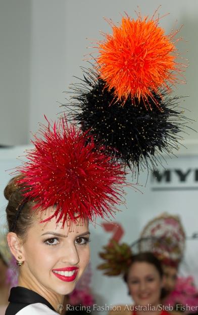 Fireworks hat by Cynthia Jones-Bryson. Photo by designer, model Alice Anderson