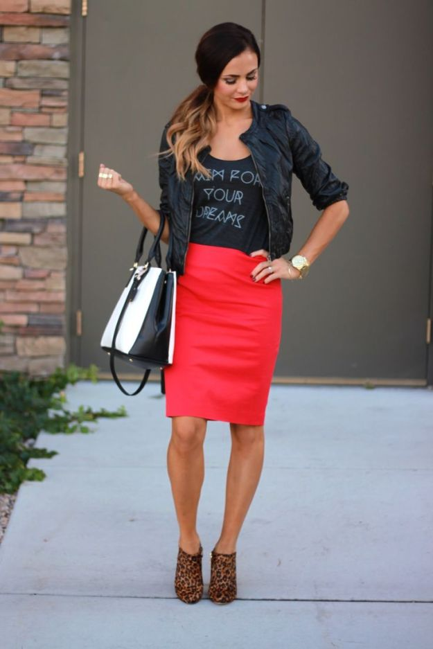 Pencil skirt worn with crop jacket and ankle boots