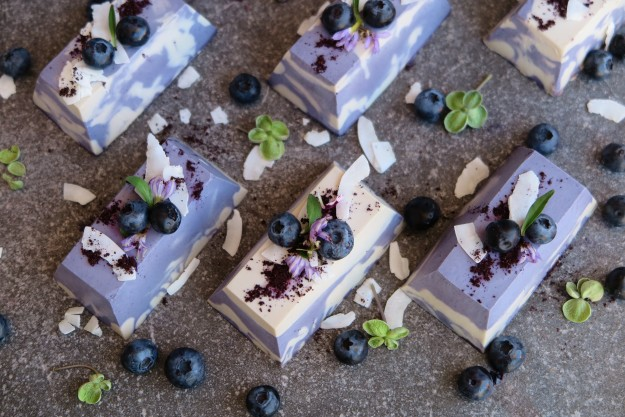 Raw white chocolate and blueberry mini cheesecakes