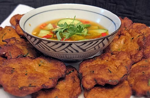 Thai fish cakes with hot sour sauce