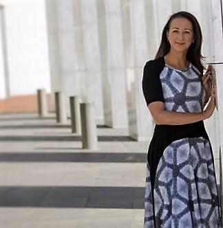 Federal Member for Canberra, Gai Brodtmann, wearing Zilpah tart Parliament House panel dress