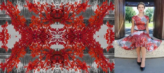 Vivid red print fabric and dress