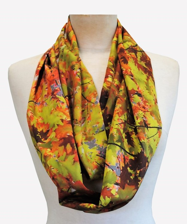 Autumn trees loop scarf by Zilpah tart