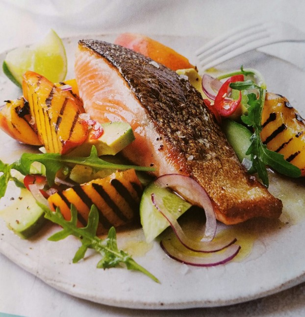 baked-salmon-with-peaches-and-avocado-salad