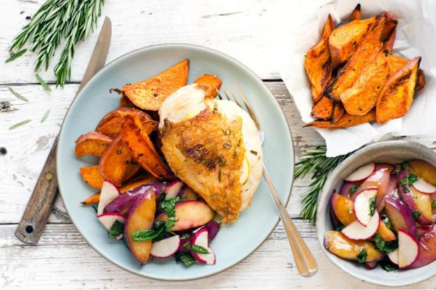 roast-chicken-with-nectarine-salad-and-potato-wedges