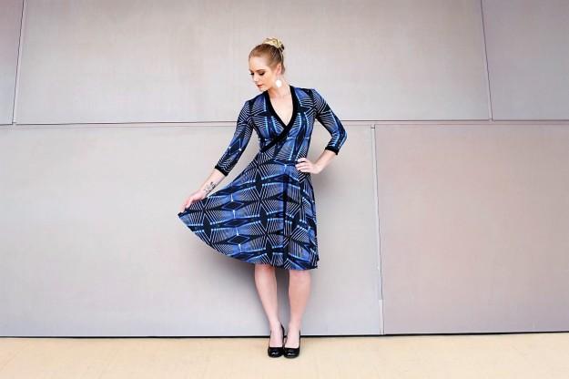 ZT Questacon Cross front dress in Lucent Blue print 1
