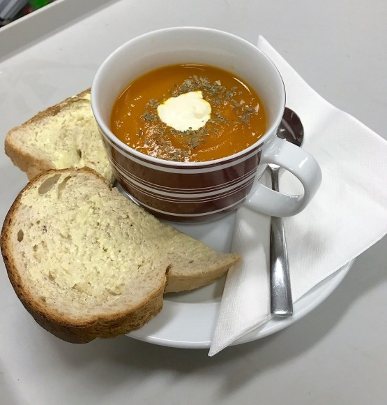 Rollonin Cafe2 Hearty soup with crusty bread