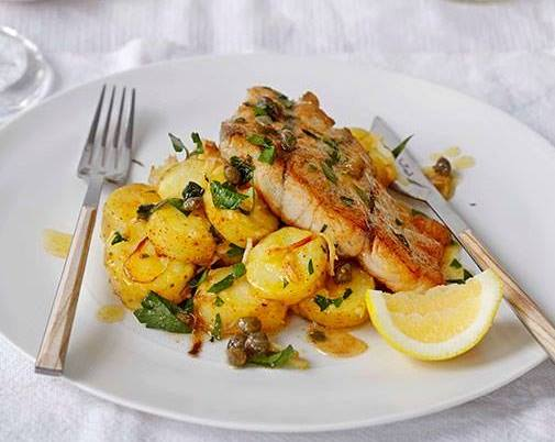 Fish - roast barra with kipfler potatoes