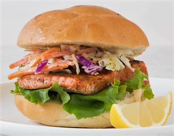 salmon burger with coleslaw